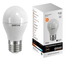 E27/    6.0Вт 2700К лампа Gauss LED Globe