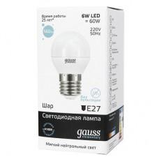 E27/    6.0Вт 4100К лампа Gauss LED Globe