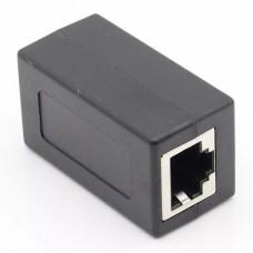 Компьютерный проходник 8P8С, гн.RJ45 - гн.RJ45, черный